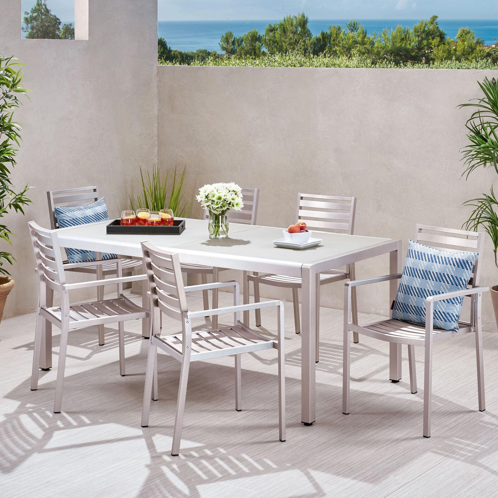 Cherie Outdoor Modern 6 Seater Aluminum Dining Set Home & Garden