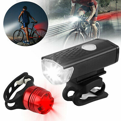 Rechargeable Bicycle Bike Headlight Rear Taillight Set USB L