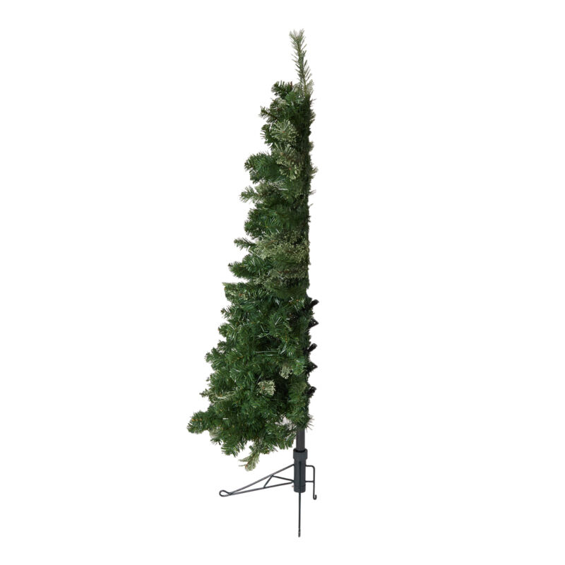 Home Heritage Cashmere 5 Foot Christmas Half Tree with LED Lights (For Parts)