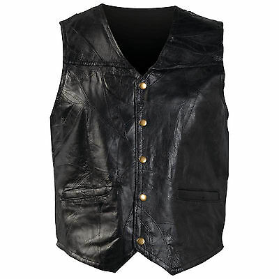 BLACK MEM'S GENUINE LEATHER MOTORCYCLE VEST FULLY LINED 2 SMALL WATCH POCKETs