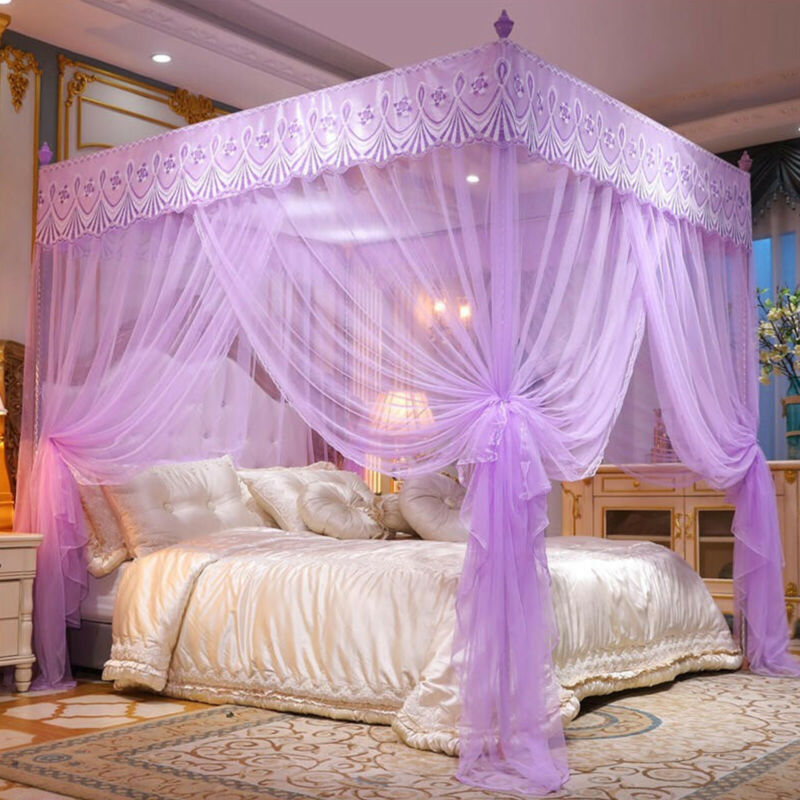 4 Corner Post Bed Canopy Elegant Curtain Mosquito Net w/ Stainless Steel Frame