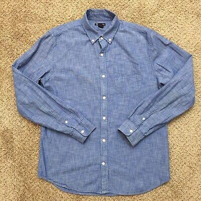 Gap Slim Fit Mens Large Blue Long Sleeve Button Front Shirt