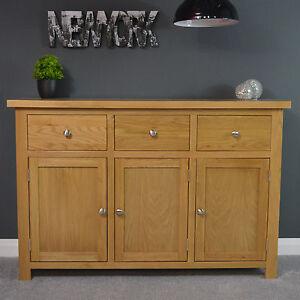 Oakley Oak Sideboard Large / Cupboard / Solid Wood / Storage Dresser Light Tone