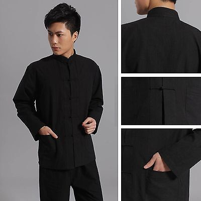 Jackie Chan Costume (Traditional Chinese style Jackie Chan Black Kung Fu Suit Tai Chi Shirt)