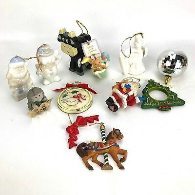 Lot of Christmas Tree Ornaments Hallmark Babys First 1997 Angel Snowman Cow