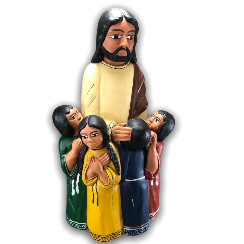 Jesus Blessing Children Art Pottery Figurine by Ten Thousand Villages Peru 8""
