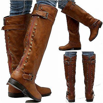 New Womens JM18 Red Zipper Tan Studded Riding Knee High Boots USA Sz 5.5 to 11