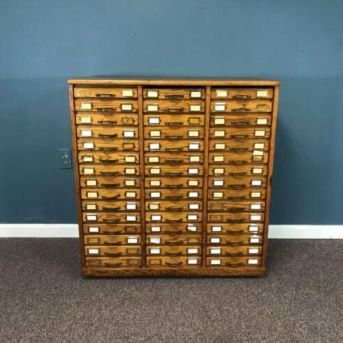 19th Century Multi 45 Drawer Oak & Tin Storage Cabinet