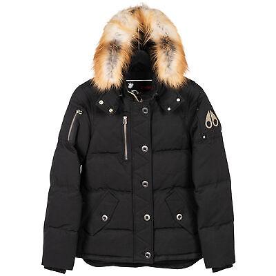 Moose Knuckles 3Q Lds Black W Red Fox Fur Women Small Coat/Jacket