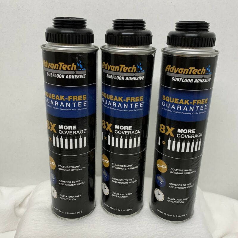 Advan Tech Subloor Adhesive 24 Oz Cans LOT OF THREE (3) CANS