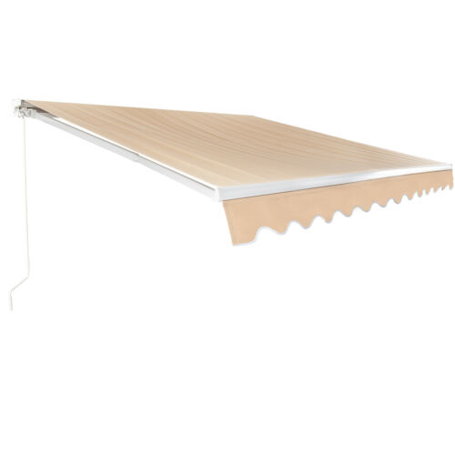 Patio Awning Manual Retractable Outdoor Sun shade Shelter Window Deck Canopy