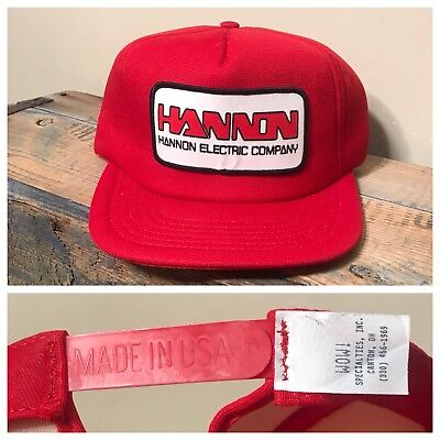 Big Foam Hats (Vintage Hannon Electric Company foam big patch hat Made in USA wow RED)
