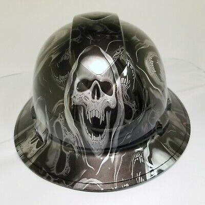 Full Brim Hard Hat Custom Hydro Dipped Silver And Black Grim Reaper Skull