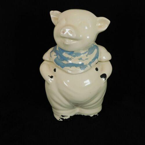 Shawnee Pottery Smiley Pig Cookie Jar Vintage 1940 Original Paint Peeling FLAW