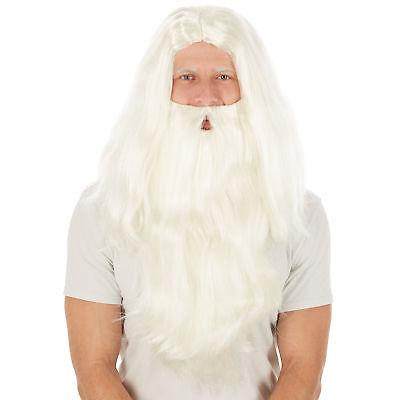 Perücke Weihnachtsmann + Bart Nikolaus Santa Claus Zauberer Fasching Halloween
