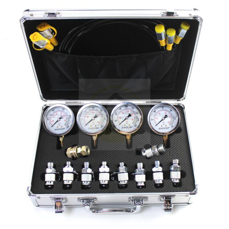 SINOCMP Hydraulic Pressure Gauge Test Kit 10/25/40/60Mpa Gauges For Cat Komatsu