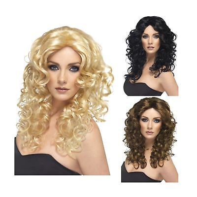 Adult Ladies 80s Retro Diva Superhero Curly Glamour Wig Fancy Dress Accessory