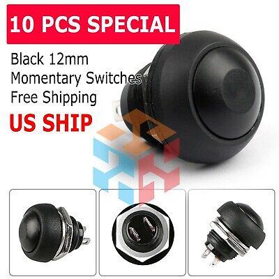 Black 10pcs Momentary Onoff Push Button Switch Waterproof 12mm M122 Mini