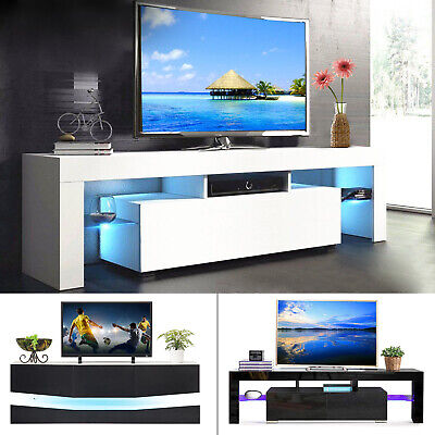 High Gloss LED Light Shelves TV Stand Unit Console Cabinet with Drawer or Door (Tv Stand With Cabinets)