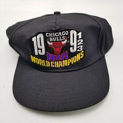 Chicago Bulls AJD Hat Cap Black Adult Used Snapback NBA 1990s Vintage Jordan Bl5