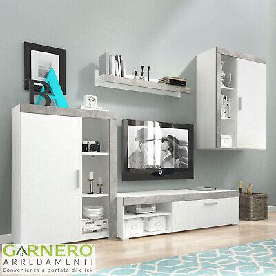 Parete attrezzata ROI mobile soggiorno moderno tv design salotto bianco cemento