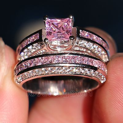 brand pink sapphire diamonique 10kt white gold gf wedding ring set sz 5 11 gift - Pink Wedding Ring Set