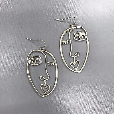 (Unique Matte Silver Finished Picasso Face Design Drop Dangle Hook Earrings )
