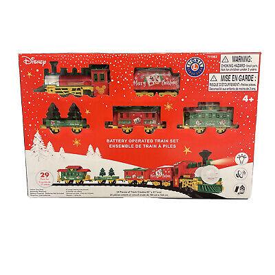 "Disney Mini 29pc Train Set 65"" x 41"" Mickey Christmas Lionel Set Lights & Sounds"