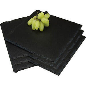 set of 8 square placemats natural slate cheese dinner dining kitchen table mats ebay. Black Bedroom Furniture Sets. Home Design Ideas