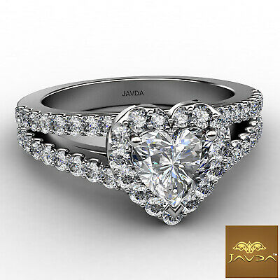 Halo French Pave Split Shank Heart Cut Diamond Engagement Ring GIA F VS1 1.25Ct 1