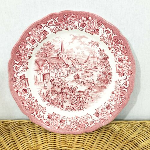 Meakin Stratford Stage English Ironstone Plate Red White Transferware