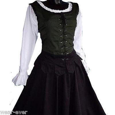 MITTELALTER BLUSE Top Corsage larp grün/schwarz 1280 XL - für Gewandung Kostüm