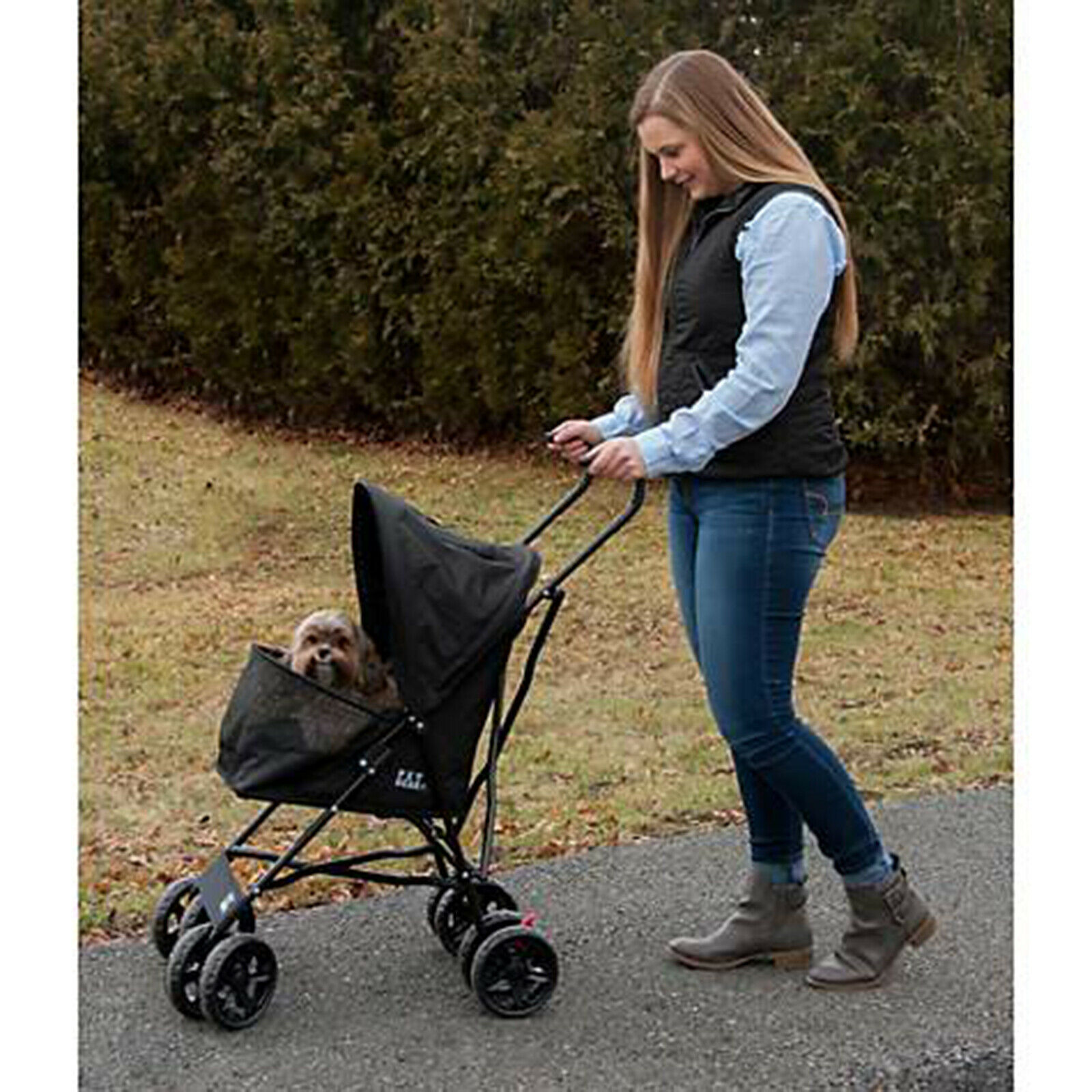 Pet Stroller for Cats and Dogs up to 15-pounds Walk Folding