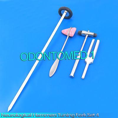 Neurological Hammers Tuning Fork Set 4 Medical Surgical Diagnostic Instruments