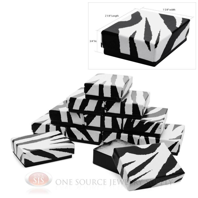 "12 Zebra Print Cotton Filled Gift Boxes  2 1/8"" X 1 5/8"" Jewelry Pendant Box"