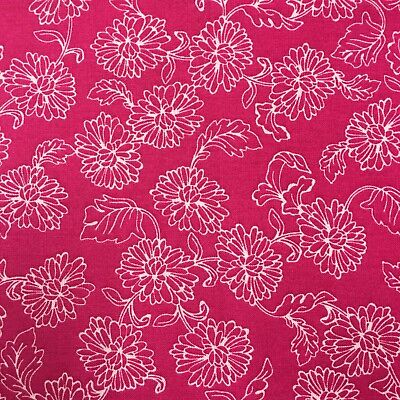 Fabric Joann Quilters Showcase 1 Yard X 44  Floral White Pink Cotton  3U46
