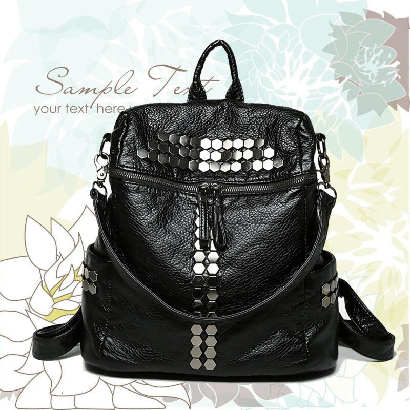 Schwarz Damentasche Mädchen Rucksack Leder Shopper Bag Damenrucksack Rucksack