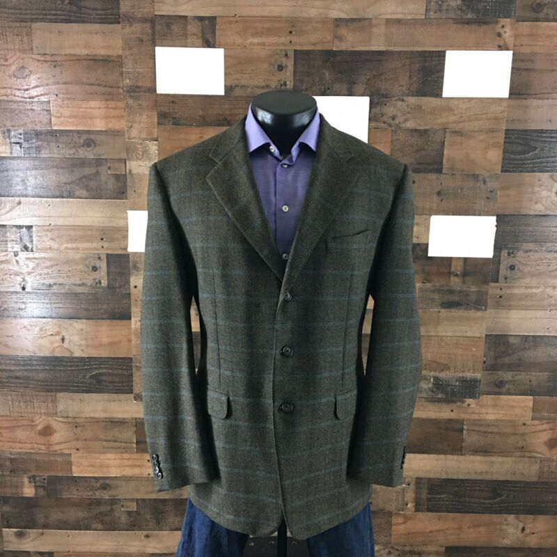 Corneliani Sport Coat Blazer Jacket Three Button Windowpane Men EU-56R.  USA-46R