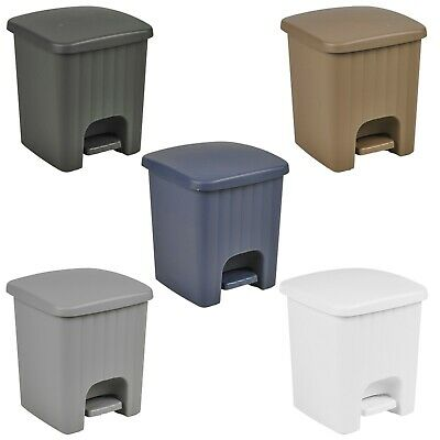 Plastic 5 Litre Bin with Pedal Lid Waste Dustbin Rubbish Garbage Bathroom -