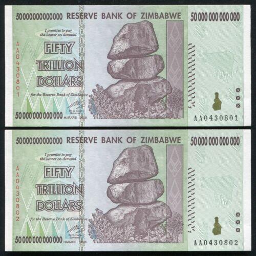2 CONSECUTIVE 2008 50 TRILLION DOLLARS ZIMBABWE, AA P-90 UNC 100 TRILLION SERIES