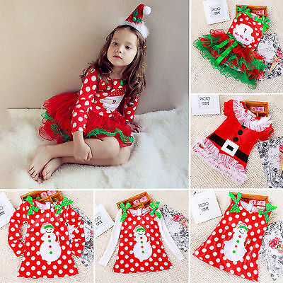 Kids Girls Casual Christmas Party Santa Snowman Xmas Tutu Dress Outfits - Childrens Santa Outfits