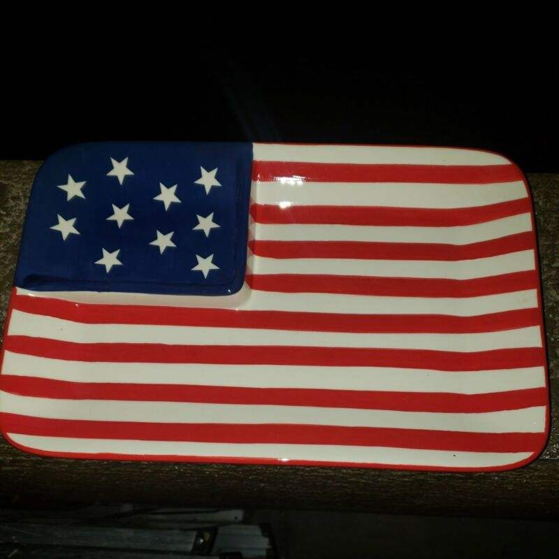 American Flag Chip & Dip platter 14 × 9 Heavy Glass Hand Painted 4 available