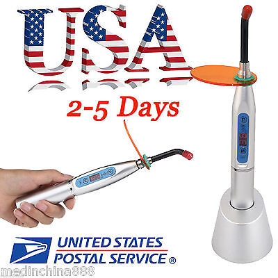 10w Dental Cordless Led Curing Light Lamp 2000mw 5-40s Silver Color Usa Ship