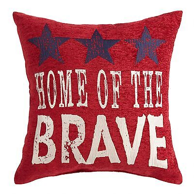 Americana Patriotic USA Home of the Brave Tapestry Throw Pillow - 17