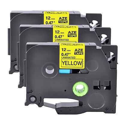 3pk Black On Yellow Label Tape For Brother Tz631 Tze631 P-touch Pt-h100 Pt-h300