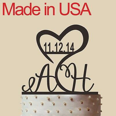 """Initial Cake Topper,Personalized Wedding Cake Topper, Acrylic, Made in USA 6"""" - Initial Wedding Cake Toppers"""
