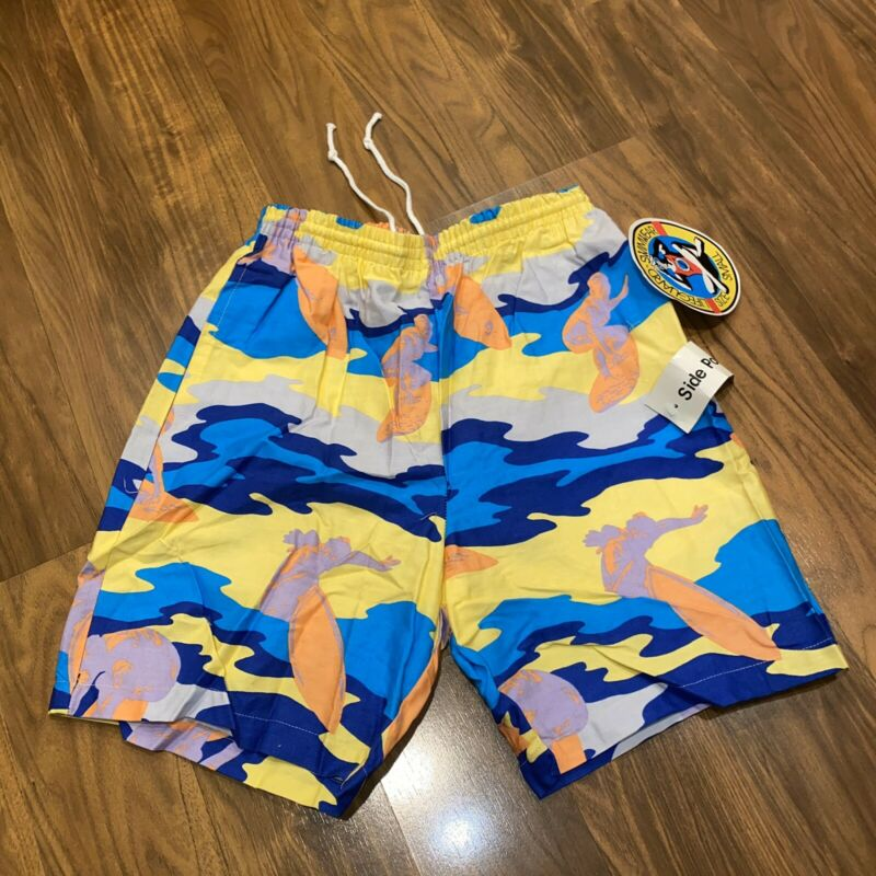 NWT Vtg 80s LIFEGUARD Cotton Swim Trunks SURFER jams Shorts MENS SMALL camo NEW