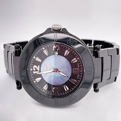 INVICTA Black Ceramic Watch Model #3938 With Mother of Pearl Dial