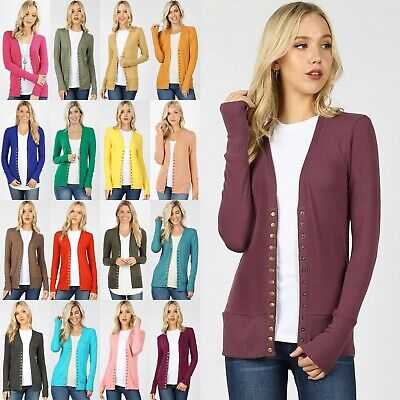Ribbed Sweaters (Women Snap Button Sweater Cardigan with Ribbed Detail Neck Long Sleeve)