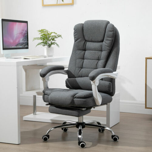 with Armrests Vinsetto Office Chair with Retractable Footrest Height Adjustable